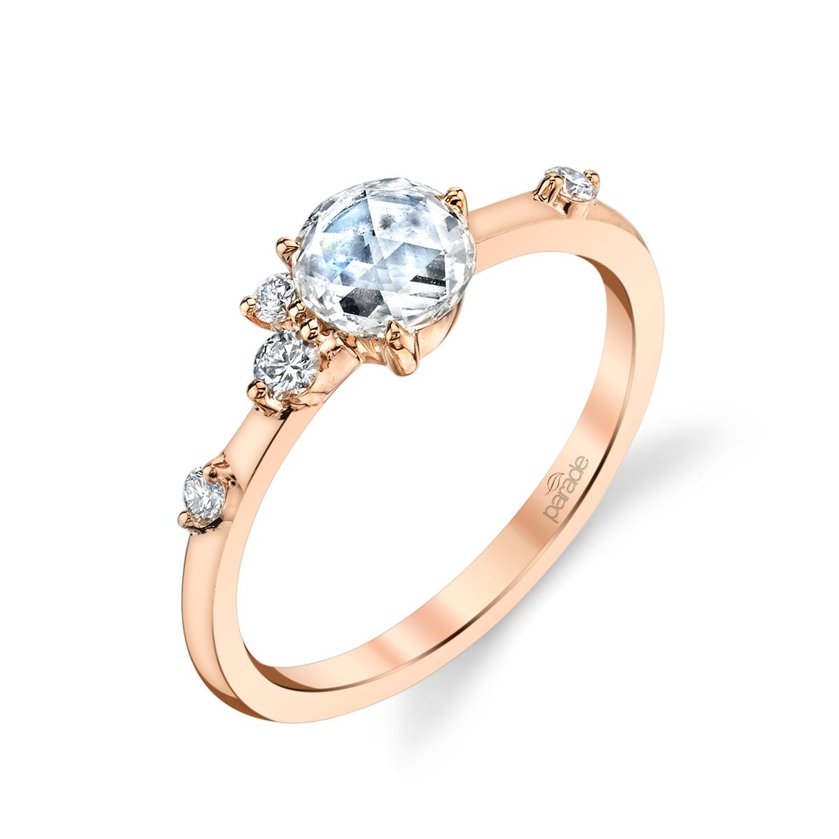 Designer diamond engagement ring with rose cut diamond by Parade Design.