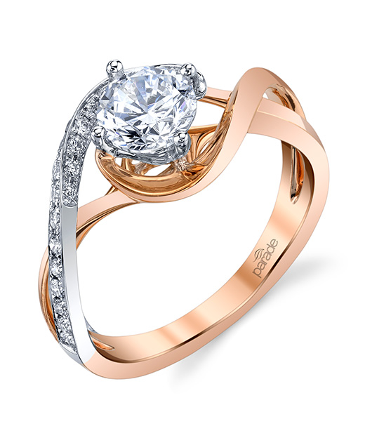 Contemporary, designer diamond engagement ring by Parade Design in two tone white and rose gold.
